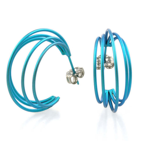 Multi-strand hoop earrings in titanium