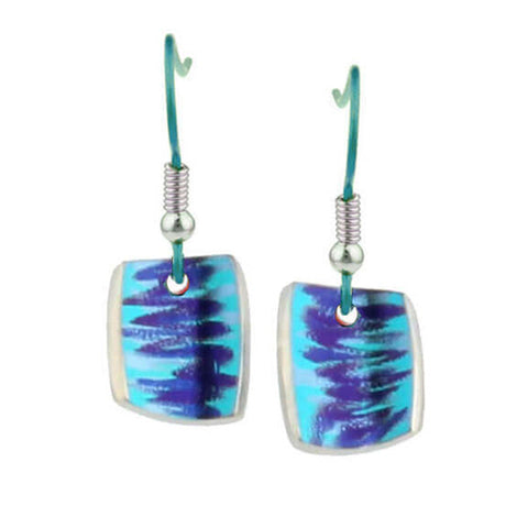 Green laser pattern drop earrings in titanium