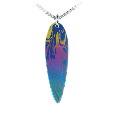 Swirl pattern multicolour pendant and chain in titanium and silver