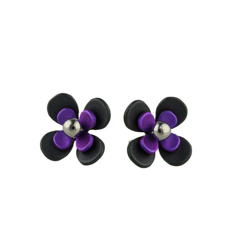 Purple and black flower stud earrings in titanium