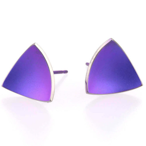 Trillion concave stud earrings in titanium