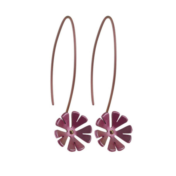 Earrings - Ten petal flower drop earrings in titanium  - PA Jewellery