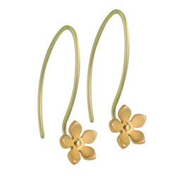 Earrings - Five petal flower drop earrings in titanium  - PA Jewellery