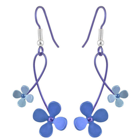 Double four petal flower twist earrings in titanium