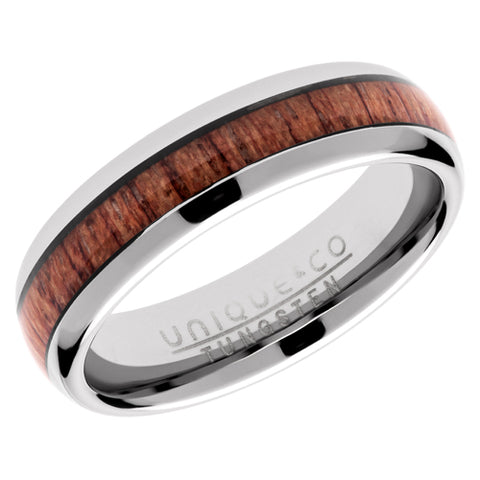 Wood inlay ring in tungsten carbide