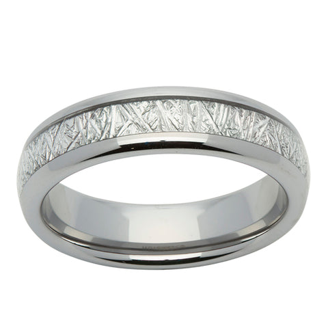 Meteorite paper inlay ring in tungsten carbide