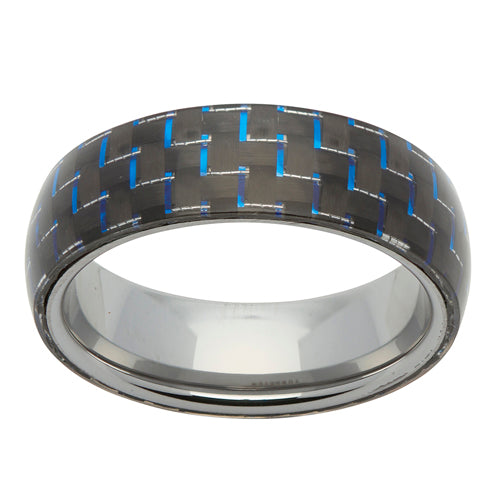 Carbon fibre detail ring in tungsten carbide