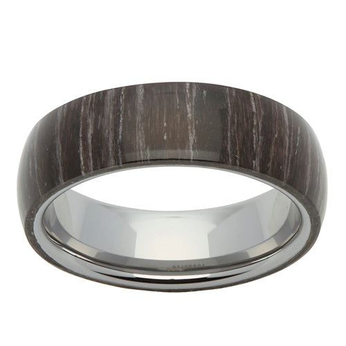 Black sandalwood veneer ring in tungsten carbide