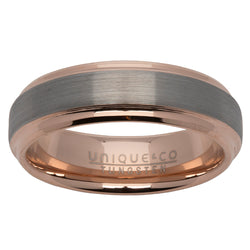 Brushed finish ring in tungsten carbide with rose IP plating