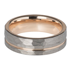 Hammered finish ring in tungsten carbide with rose IP plating
