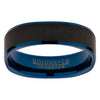 Brushed finish square ring in tungsten carbide with blue and black IP plating