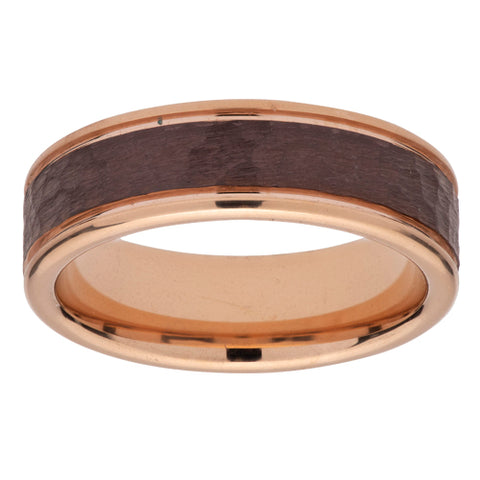 Hammered detail ring in tungsten carbide with rose and brown IP plating