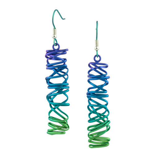 Chaos long drop earrings in titanium