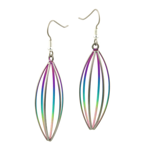 Rainbow open strand earrings in titanium
