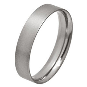 Ring - Low profile ellipse court-flat ring in titanium, 5mm width  - PA Jewellery