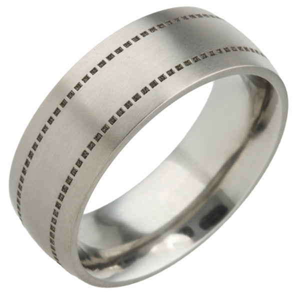Ring - Two line ring in titanium, 8mm width  - PA Jewellery