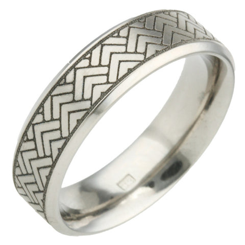 Ring - Herringbone pattern ring in titanium, 6mm width  - PA Jewellery