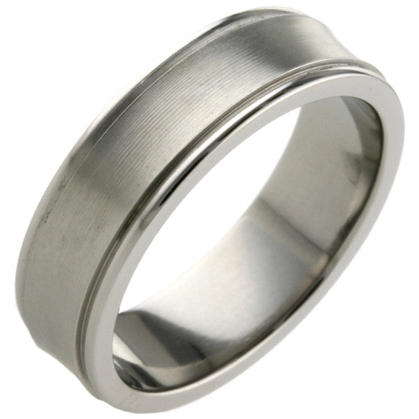 Ring - Concave two groove ring in titanium, 6mm width  - PA Jewellery