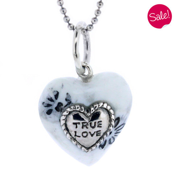 'True Love' white heart pendant and chain in silver