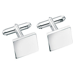 Engravable square cufflinks in silver