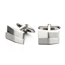 Rectangular matt and polished finish cufflinks in stainless steel