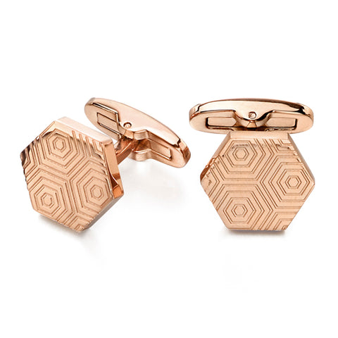 Hexagonal cufflinks in stainless steel with rose ion plating