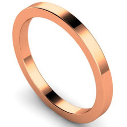 Flat court profile wedding ring in rose gold, 2mm width
