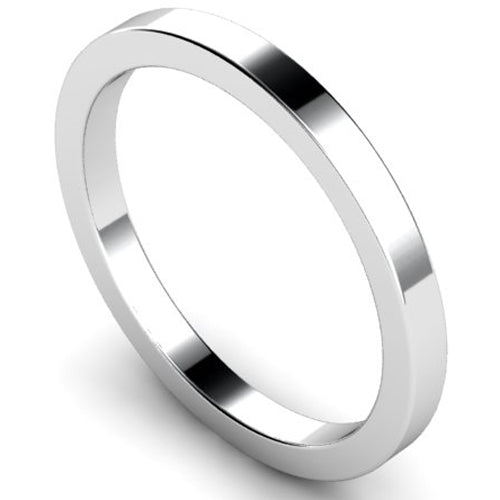 Flat court profile wedding ring in platinum, 2mm width