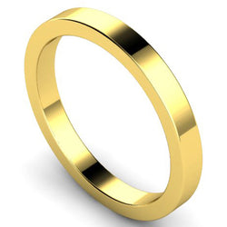 Flat profile wedding ring in yellow gold, 2.5mm width