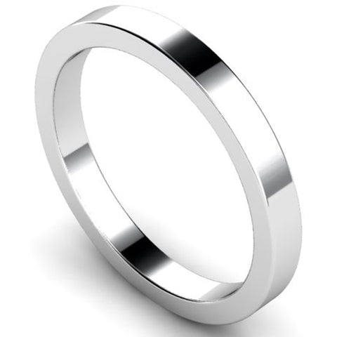 Flat profile wedding ring in white gold, 2.5mm width