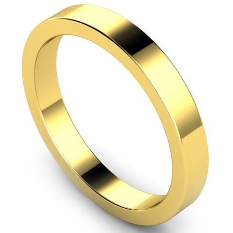 Flat profile wedding ring in yellow gold, 3mm width
