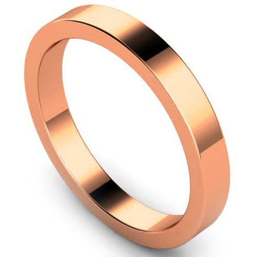 Flat profile wedding ring in rose gold, 3mm width
