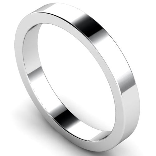 Flat profile wedding ring in platinum, 3mm width