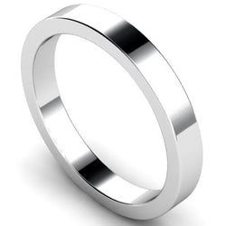 Flat profile wedding ring in white gold, 3mm width