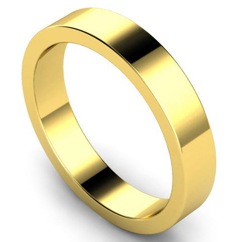 Flat profile wedding ring in yellow gold, 4mm width