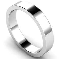 Flat profile wedding ring in white gold, 4mm width
