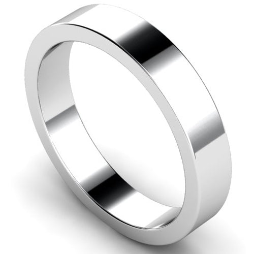 Flat profile wedding ring in platinum, 4mm width