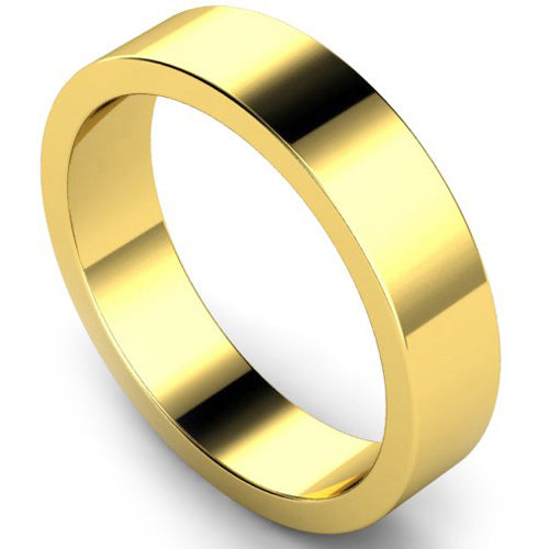 Flat profile wedding ring in yellow gold, 5mm width