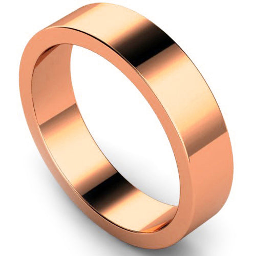 Flat profile wedding ring in rose gold, 5mm width