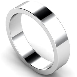 Flat profile wedding ring in platinum, 5mm width