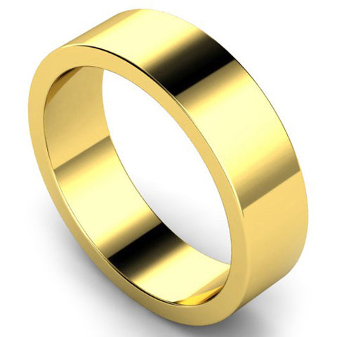 Flat profile wedding ring in yellow gold, 6mm width
