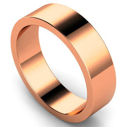 Flat profile wedding ring in rose gold, 6mm width