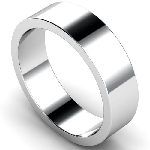 Flat profile wedding ring in white gold, 6mm width