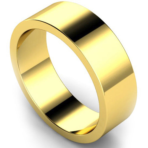 Flat profile wedding ring in yellow gold, 7mm width