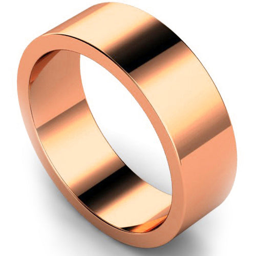 Flat profile wedding ring in rose gold, 7mm width
