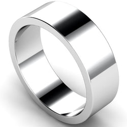 Flat profile wedding ring in white gold, 7mm width
