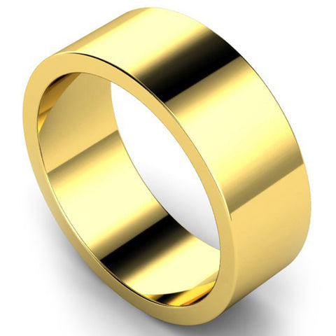 Flat profile wedding ring in yellow gold, 8mm width