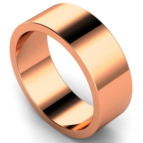 Flat profile wedding ring in rose gold, 8mm width