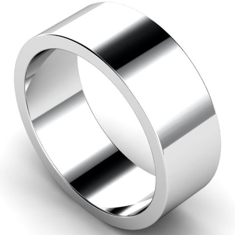 Flat profile wedding ring in palladium, 8mm width