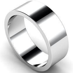 Flat profile wedding ring in white gold, 8mm width